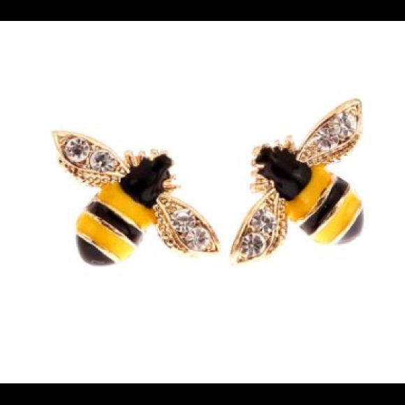 cee80291d581a Betsey Johnson Gold Plated Bee Stud Earrings NWT